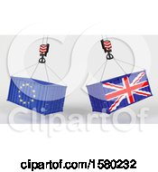 Clipart Of 3d Hoisted Shipping Containers With Uk And Eu Flags Royalty Free Illustration