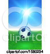 3d Soccer Ball Against A Sunny Sky