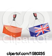 3d Hoisted Shipping Containers With Chinese And Uk Flags