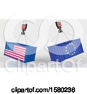 3d Hoisted Shipping Containers With American And European Flags