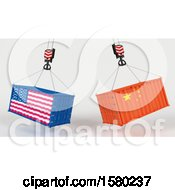 Clipart Of 3d Hoisted Shipping Containers With American And Chinese Flags Royalty Free Illustration