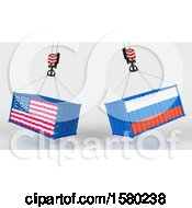 3d Hoisted Shipping Containers With American And Russian Flags