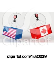 3d Hoisted Shipping Containers With American And Canadian Flags