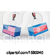 Clipart Of 3d Hoisted Shipping Containers With American And North Korean Flags Royalty Free Illustration