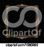 Golden Ornate Frame Over Black Damask