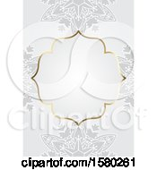 Poster, Art Print Of Blank Frame Over Gray Floral