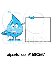 Water Drop Mascot Character Pointing To A Blank Sign