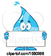 Water Drop Mascot Character Holding A Blank Sign