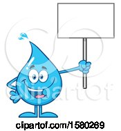 Water Drop Mascot Character Holding Up A Blank Sign