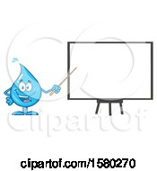Clipart Of A Water Drop Mascot Character Holding A Pointer Stick To A White Board Royalty Free Vector Illustration