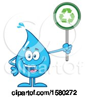Clipart Of A Water Drop Mascot Character Holding A Recycle Sign Royalty Free Vector Illustration