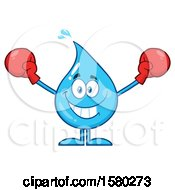 Water Drop Mascot Character Wearing Boxing Gloves