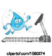 Clipart Of A Water Drop Mascot Character Running On A Treadmill Royalty Free Vector Illustration