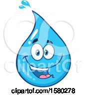 Clipart Of A Water Drop Mascot Character Royalty Free Vector Illustration by Hit Toon