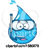 Clipart Of A Water Drop Mascot Character Wearing A Snorkel Mask Royalty Free Vector Illustration