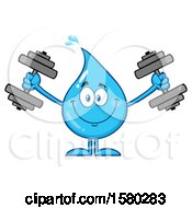 Clipart Of A Water Drop Mascot Character Working Out With Dumbbells Royalty Free Vector Illustration by Hit Toon
