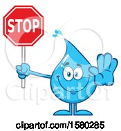 Clipart Of A Water Drop Mascot Character Holding A Stop Sign Royalty Free Vector Illustration by Hit Toon