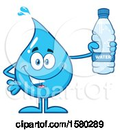 Clipart Of A Water Drop Mascot Character Holding A Bottle Royalty Free Vector Illustration by Hit Toon
