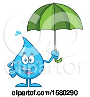 Clipart Of A Water Drop Mascot Character Holding An Umbrella Royalty Free Vector Illustration