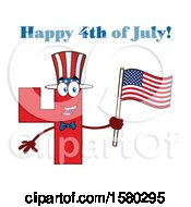Clipart Of A Patriotic Red Number Four Mascot Character Holding An American Flag Under Happy 4th Of July Text Royalty Free Vector Illustration