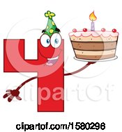 Poster, Art Print Of Red Number Four Mascot Character Holding A Birthday Cake