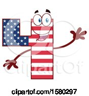 Clipart Of A Patriotic American Flag Patterned Number Four Mascot Character Waving Royalty Free Vector Illustration