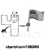 Clipart Of A Black And White Number Four Mascot Character Holding An American Flag Royalty Free Vector Illustration