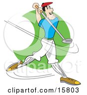 Male Golfer Swinging A Golf Club Clipart Illustration