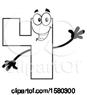 Clipart Of A Black And White Number Four Mascot Character Waving Royalty Free Vector Illustration