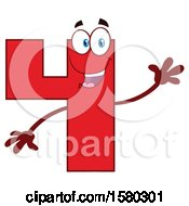 Clipart Of A Red Number Four Mascot Character Waving Royalty Free Vector Illustration