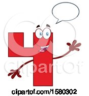 Clipart Of A Red Number Four Mascot Character Talking And Waving Royalty Free Vector Illustration