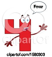 Clipart Of A Red Number Four Mascot Character Saying 4 And Waving Royalty Free Vector Illustration