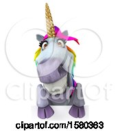 Poster, Art Print Of 3d Unicorn Over A Sign On A White Background