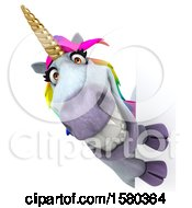Poster, Art Print Of 3d Unicorn Looking Around A Sign On A White Background