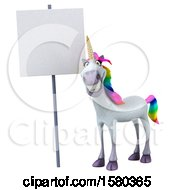 Poster, Art Print Of 3d Unicorn By A Blank Sign On A White Background