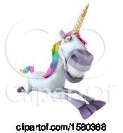 Poster, Art Print Of 3d Unicorn Running On A White Background