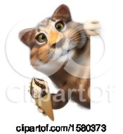 3d Tabby Kitty Cat Holding A  On A White Background