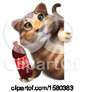Poster, Art Print Of 3d Tabby Kitty Cat Holding A Soda On A White Background