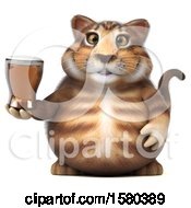 Poster, Art Print Of 3d Tabby Kitty Cat Holding A Beer On A White Background