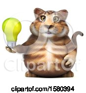 Poster, Art Print Of 3d Tabby Kitty Cat Holding A Light Bulb On A White Background