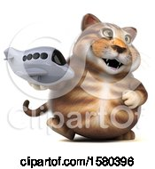 Clipart Of A 3d Tabby Kitty Cat Holding A Plane On A White Background Royalty Free Illustration
