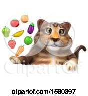 3d Tabby Kitty Cat Holding Produce On A White Background