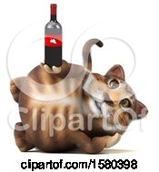 Clipart Of A 3d Tabby Kitty Cat Holding Wine On A White Background Royalty Free Illustration by Julos