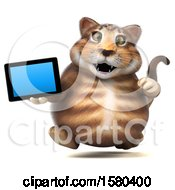 Clipart Of A 3d Tabby Kitty Cat Holding A Tablet On A White Background Royalty Free Illustration by Julos