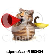 Clipart Of A 3d Tabby Kitty Cat Holding A Banana On A White Background Royalty Free Illustration by Julos