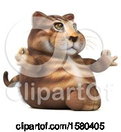 Clipart Of A 3d Tabby Kitty Cat Holding Meditating On A White Background Royalty Free Illustration