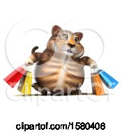 Clipart Of A 3d Tabby Kitty Cat Carrying Shopping Bags On A White Background Royalty Free Illustration by Julos