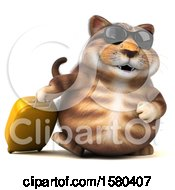 Clipart Of A 3d Tabby Kitty Cat Traveler On A White Background Royalty Free Illustration by Julos