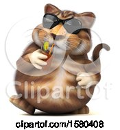 Poster, Art Print Of 3d Tabby Kitty Cat Drinking A Beverage On A White Background