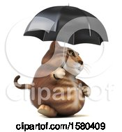Clipart Of A 3d Tabby Kitty Cat Holding An Umbrella On A White Background Royalty Free Illustration by Julos